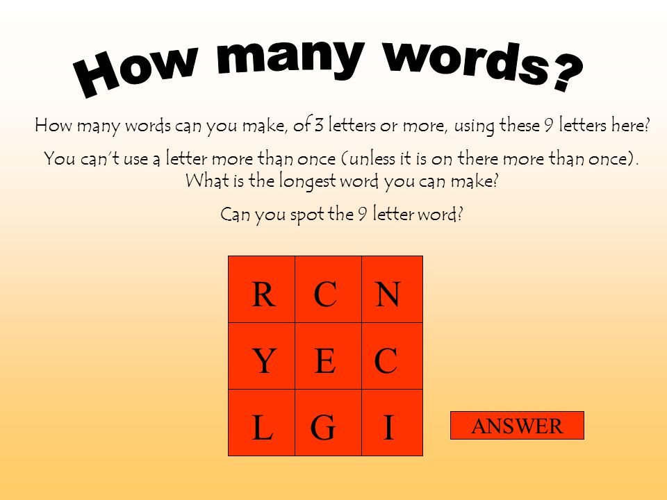Can you spot the 9 letter word?   ppt video online download