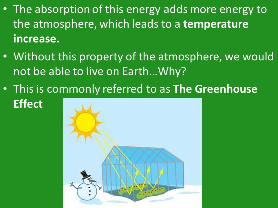 The absorption of this energy adds more energy to the atmosphere, which leads to a temperature increase.