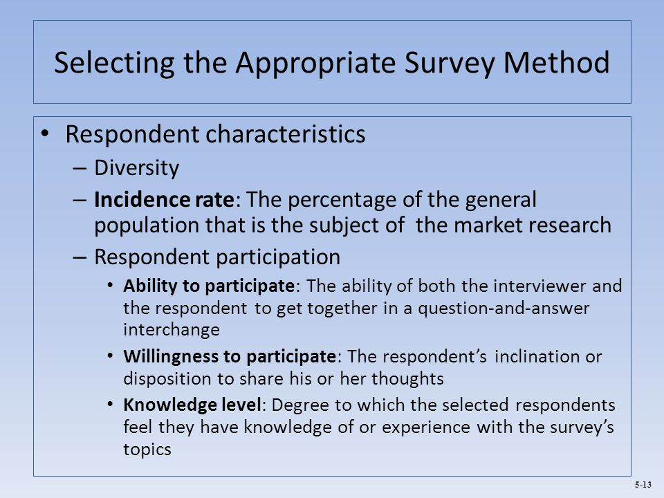 Selecting the Appropriate Survey Method