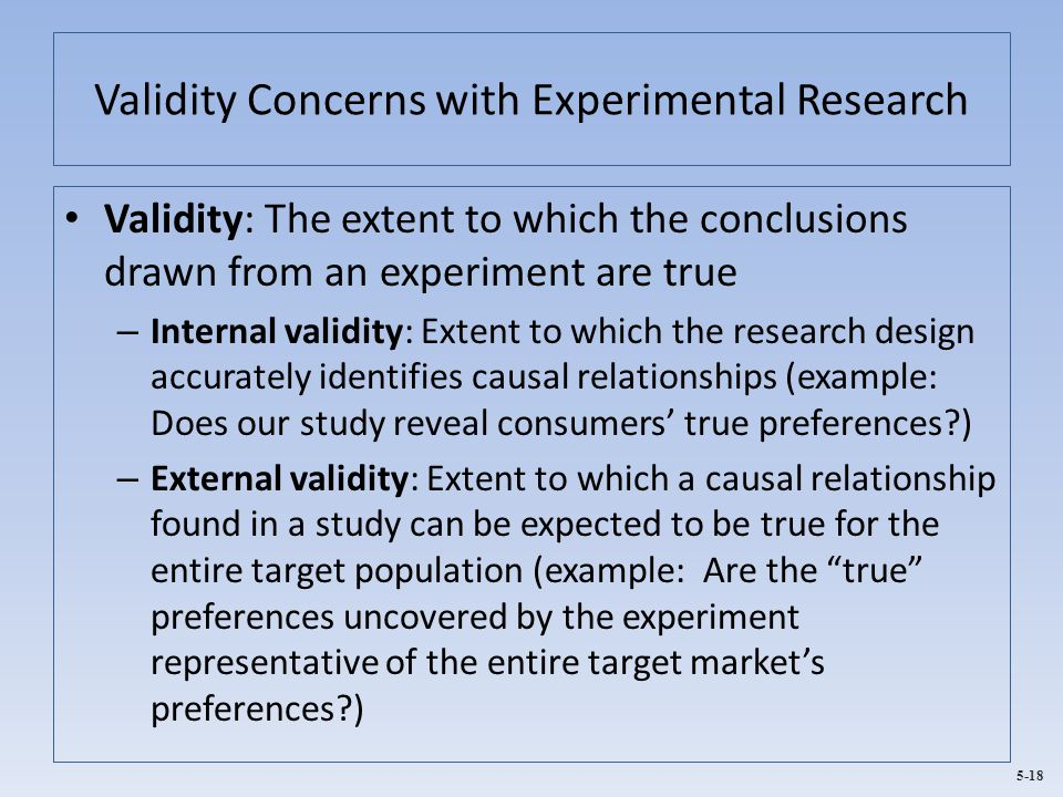 Validity Concerns with Experimental Research