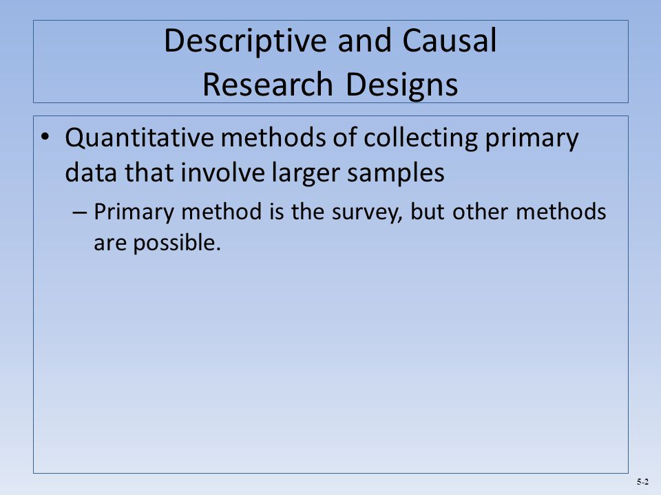 Descriptive and Causal Research Designs