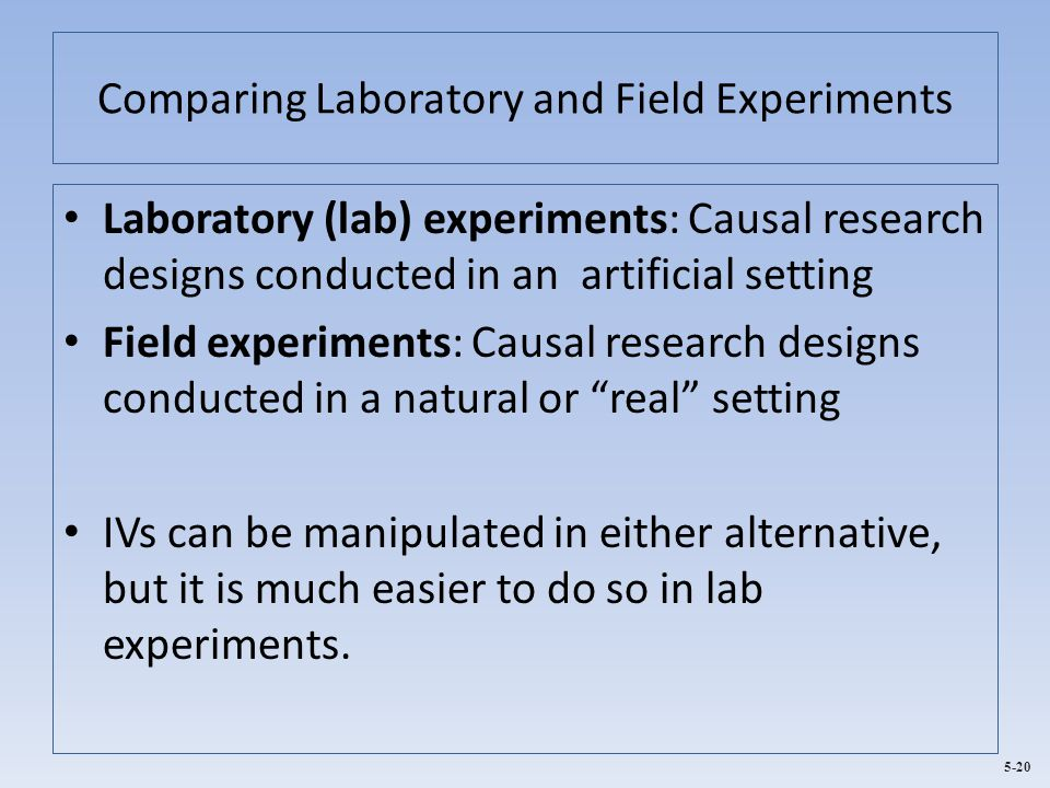 Comparing Laboratory and Field Experiments