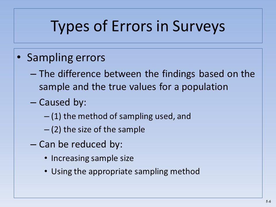 Types of Errors in Surveys