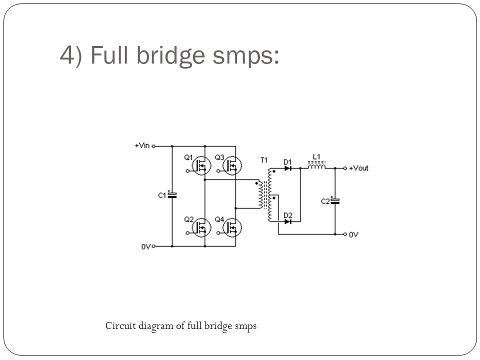 26 4) Full bridge smps: Circuit diagram of full bridge smps