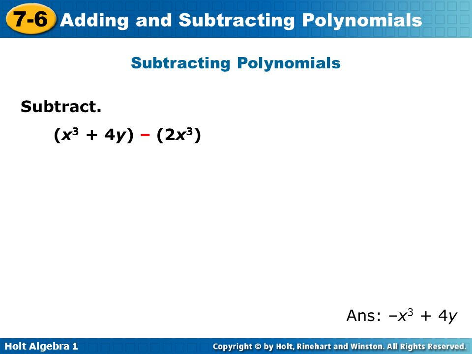 Adding and Subtracting Polynomials ppt video online download
