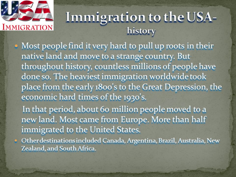 Immigration to the USA- history