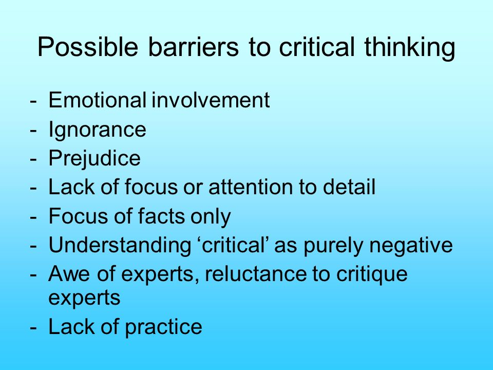 barrier of critical thinking