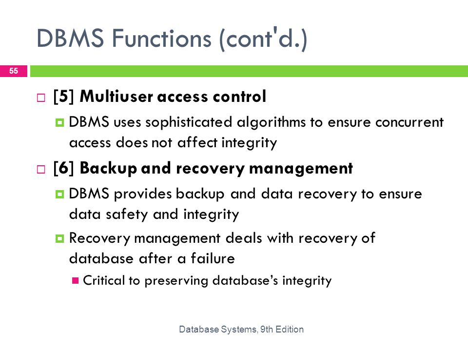 functions of dbms