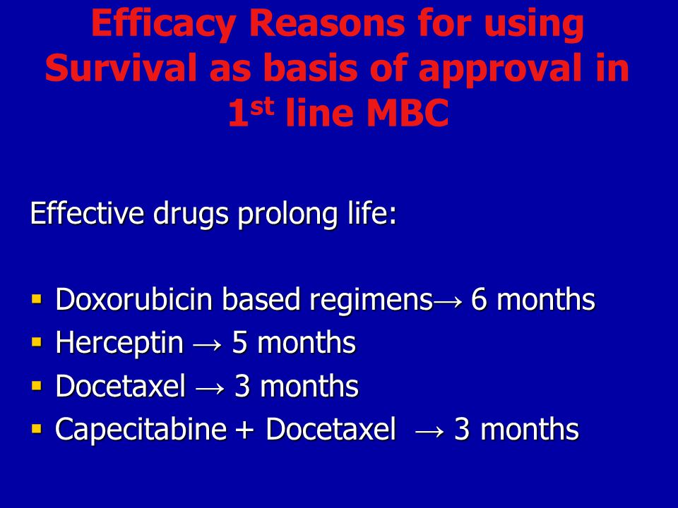 Efficacy Reasons for using Survival as basis of approval in 1st line MBC