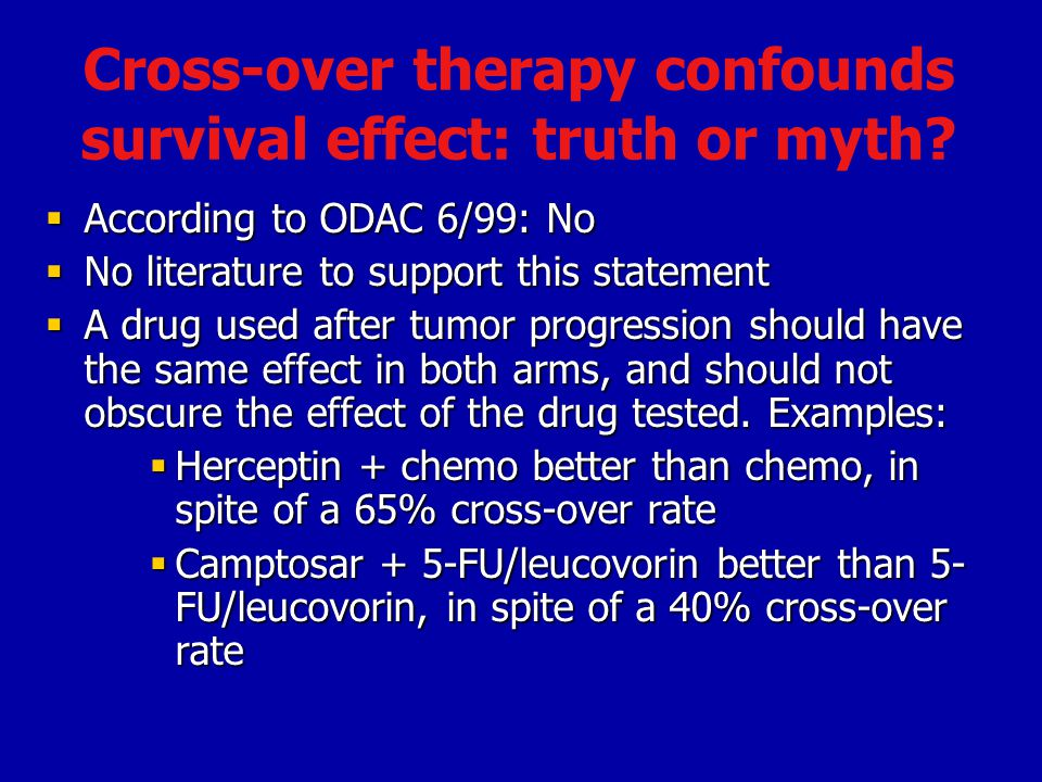 Cross-over therapy confounds survival effect: truth or myth