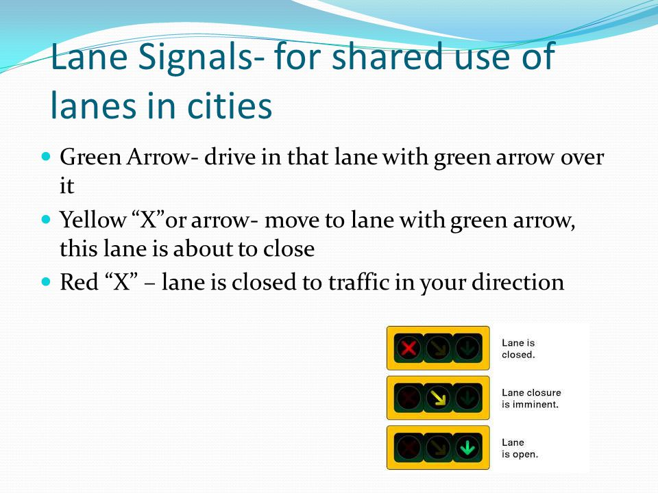 Lane Signals- for shared use of lanes in cities
