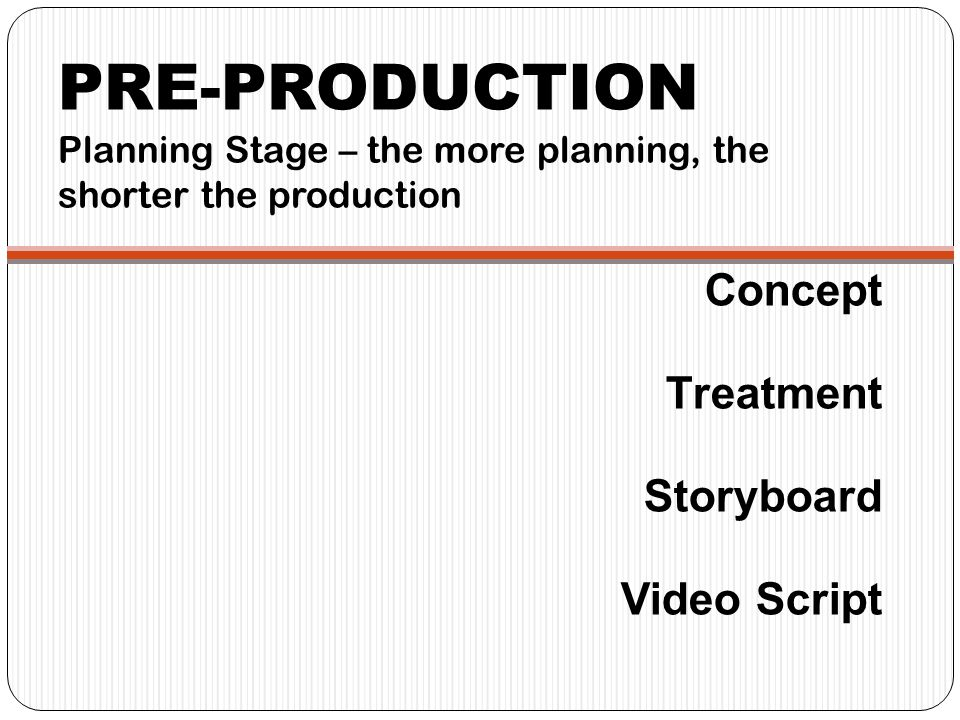 PRE-PRODUCTION Planning Stage – the more planning, the shorter the production