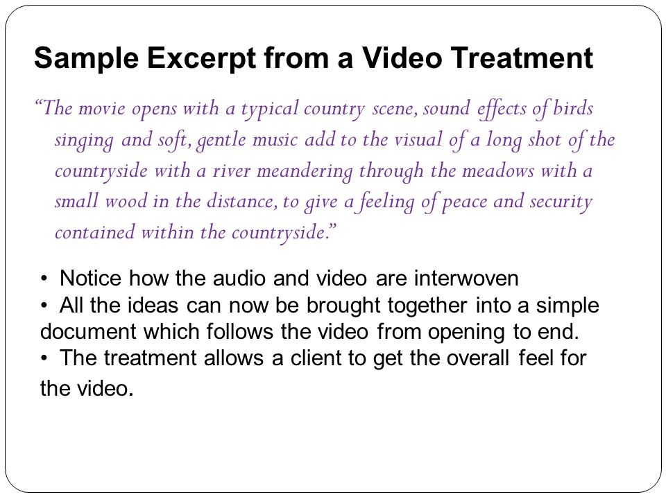 Sample Excerpt from a Video Treatment