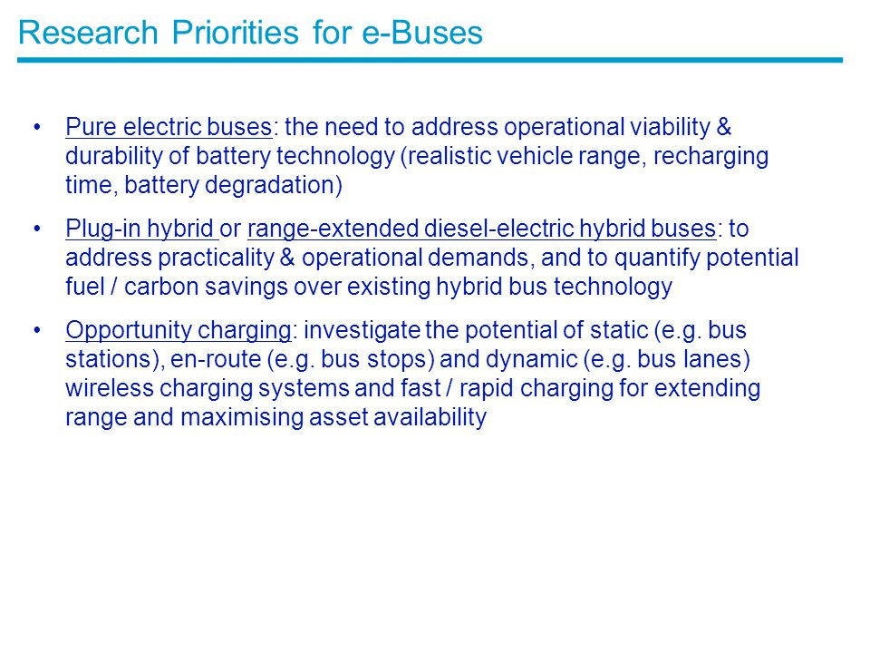 Research Priorities for e-Buses