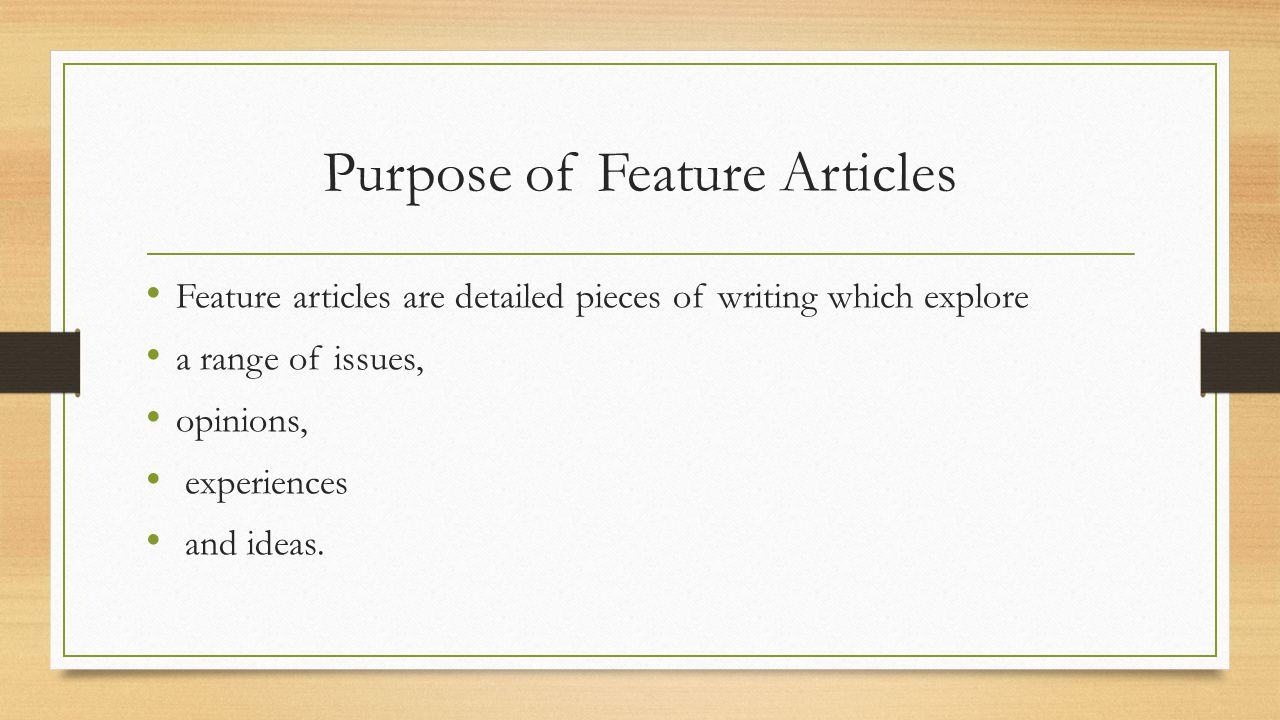 types of feature writing