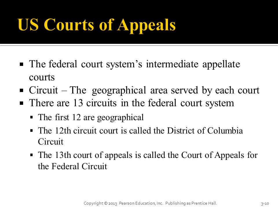 US Courts of Appeals The federal court system's intermediate appellate courts. Circuit – The geographical area served by each court.