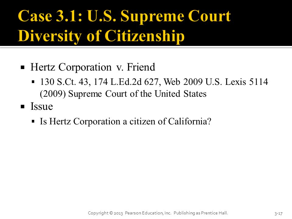 Case 3.1: U.S. Supreme Court Diversity of Citizenship