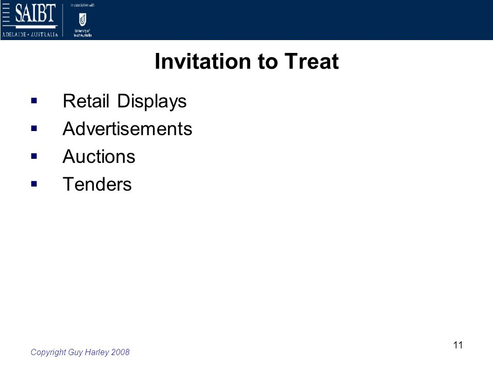 Week 4 law of contract offer and acceptance ppt download 11 invitation to treat retail displays advertisements auctions tenders stopboris Choice Image