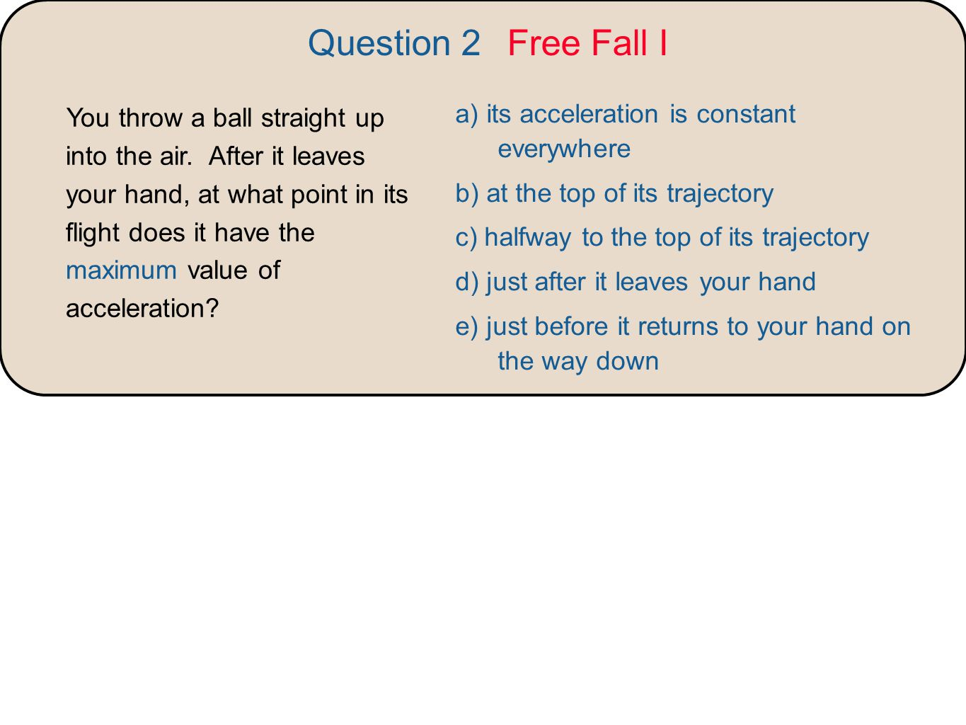 Question 2 Free Fall I