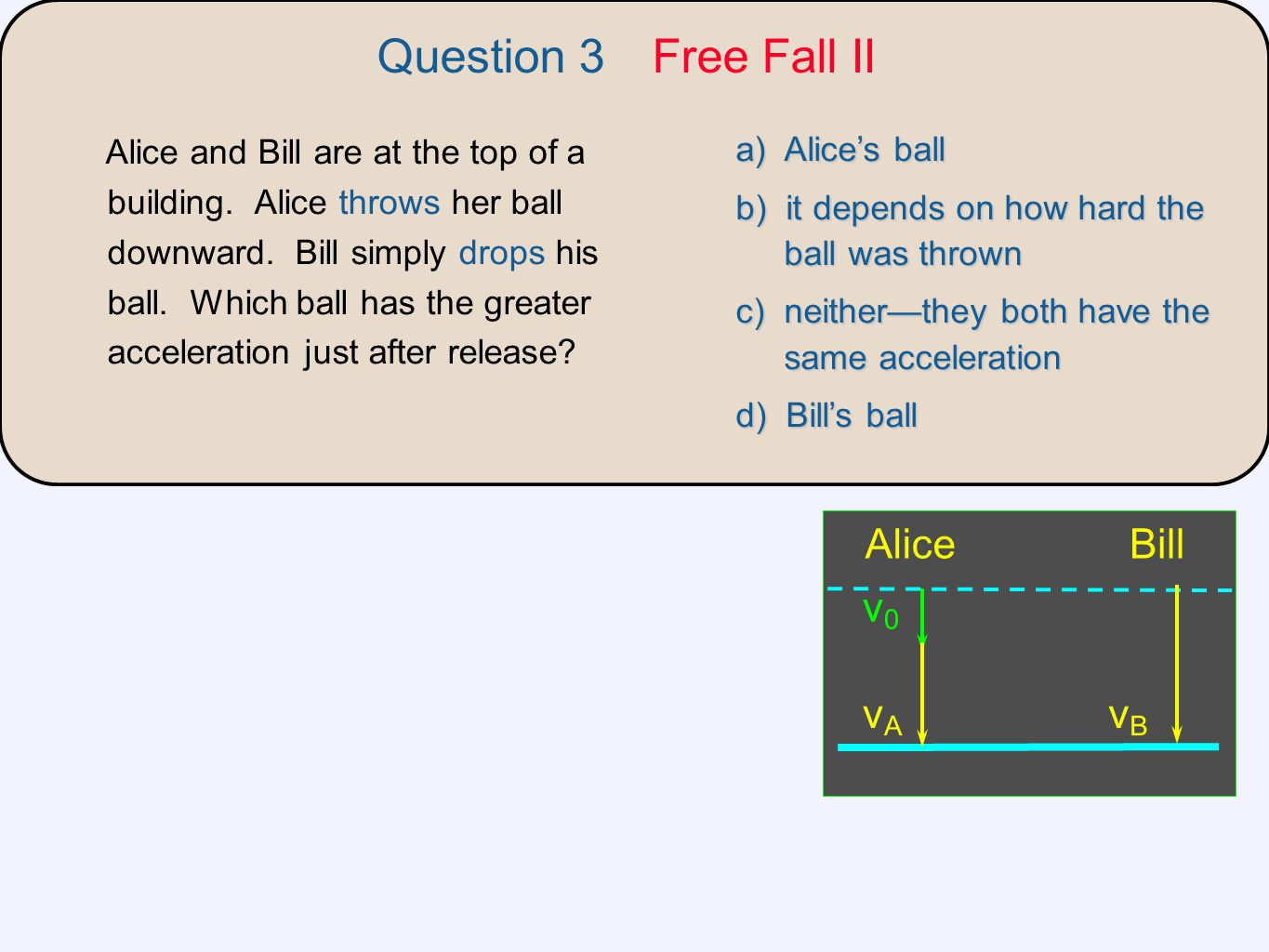 Question 3 Free Fall II v0 Bill Alice vA vB