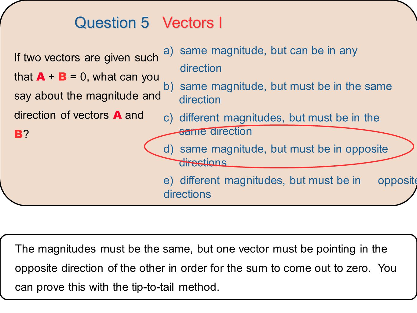 Question 5 Vectors I a) same magnitude, but can be in any
