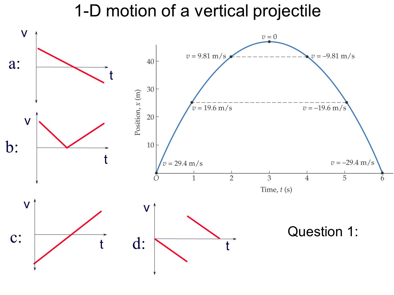 1-D motion of a vertical projectile