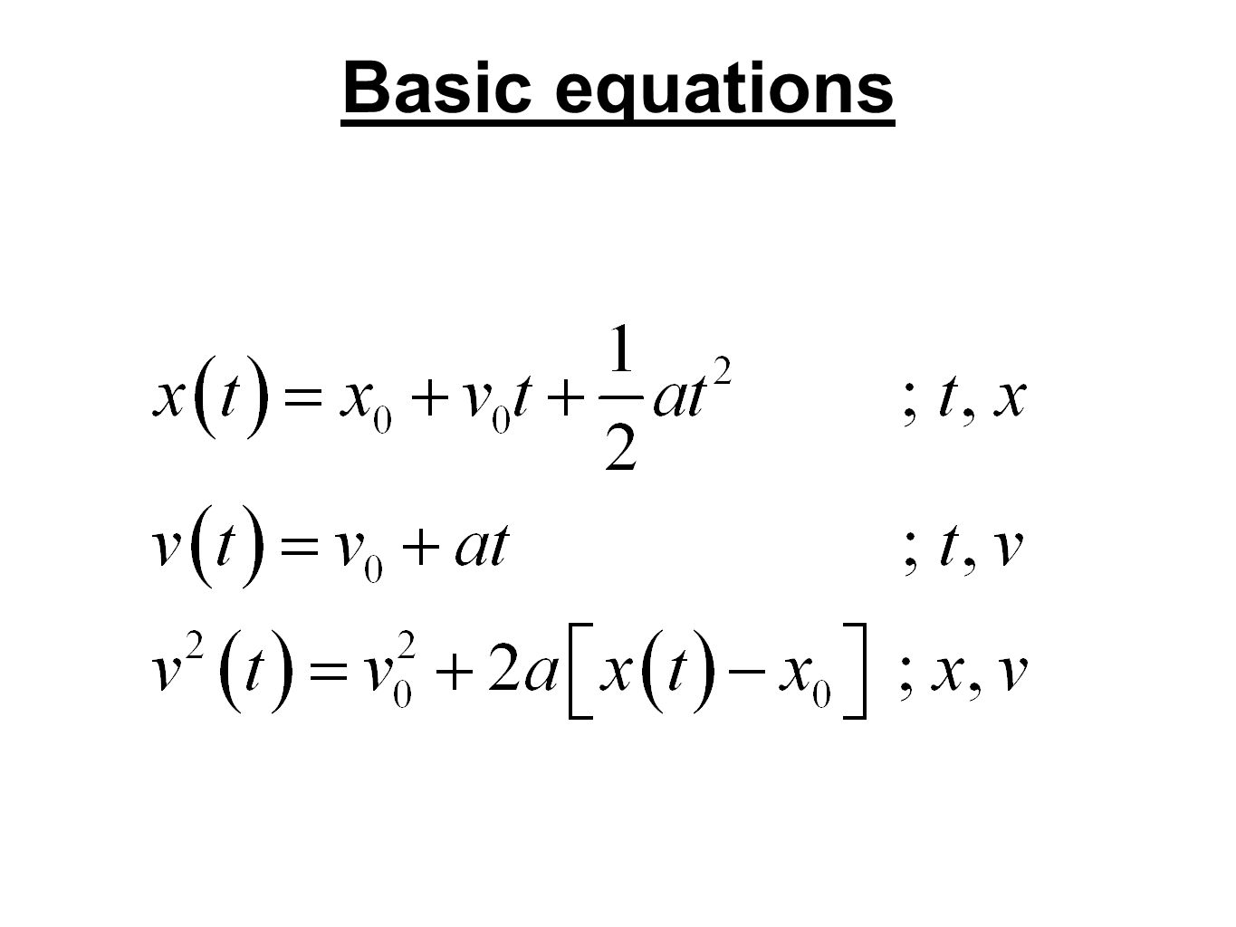 Basic equations
