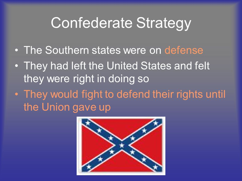 Confederate Strategy The Southern states were on defense