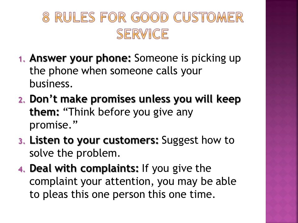 8 Rules for Good Customer Service