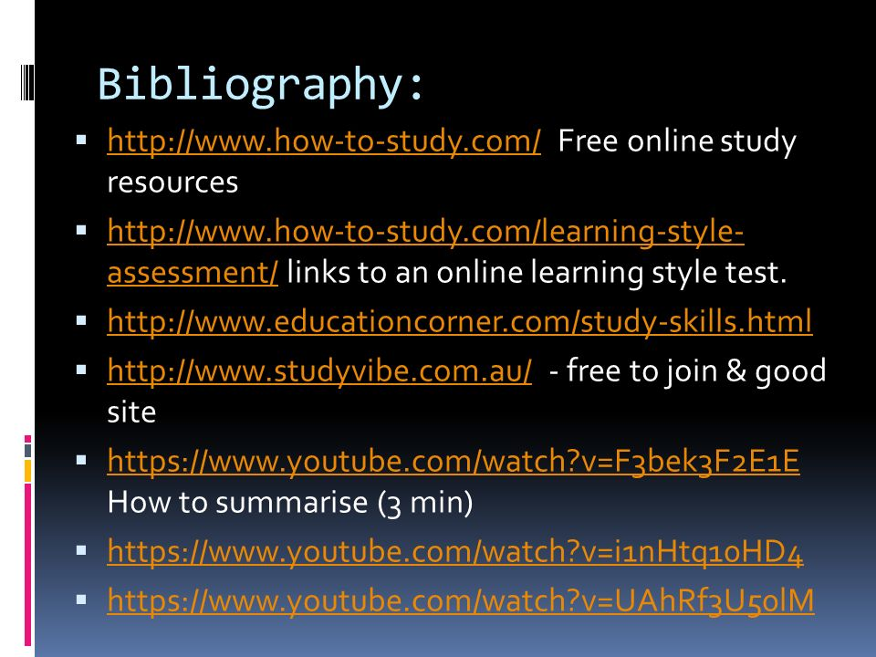 Bibliography:   Free online study resources