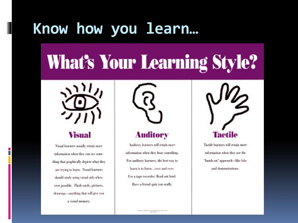 Know how you learn… Hyperlink attached to Learning styles quiz.