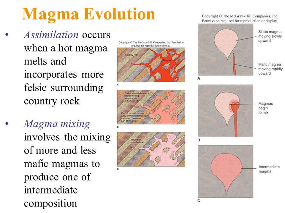 Magma Evolution Assimilation occurs when a hot magma melts and incorporates more felsic surrounding country rock.
