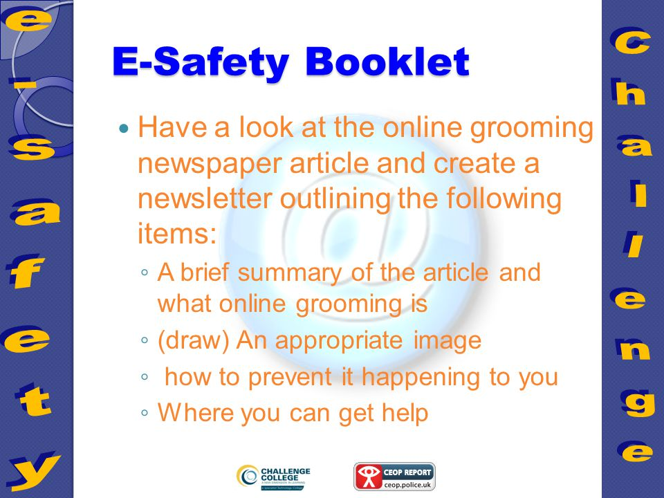 e safety challenge college e safety challenge online grooming ppt