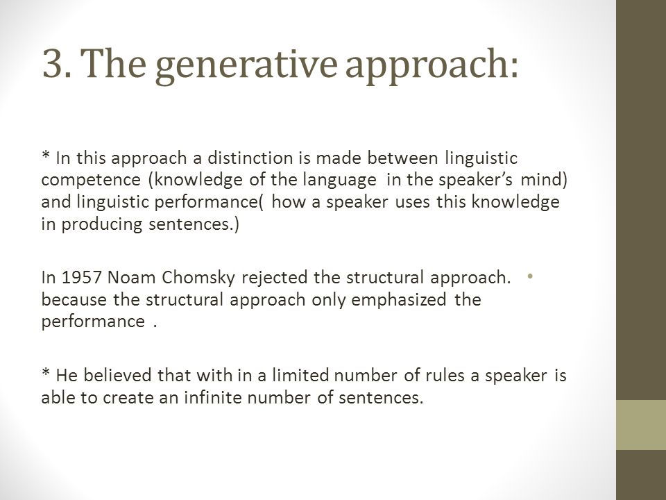 3. The generative approach: