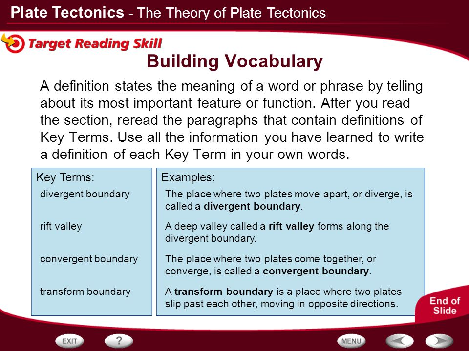 Building Vocabulary - The Theory of Plate Tectonics