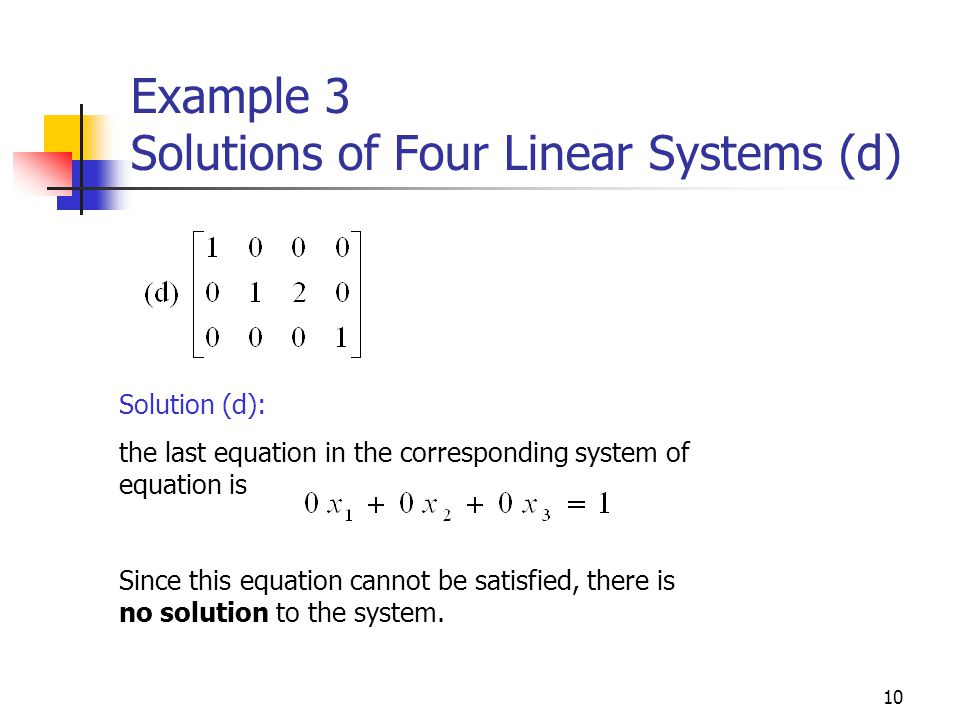Example 3 Solutions of Four Linear Systems (d)