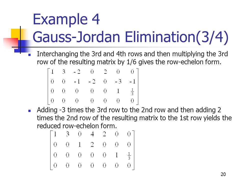 Example 4 Gauss-Jordan Elimination(3/4)