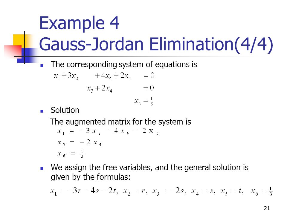 Example 4 Gauss-Jordan Elimination(4/4)