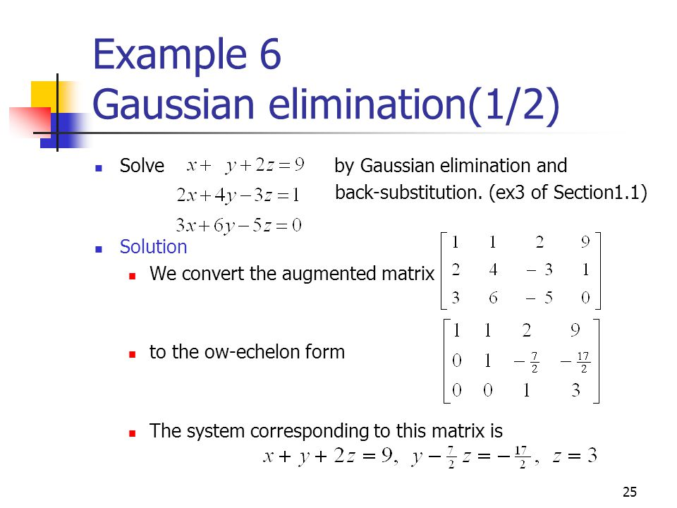 Example 6 Gaussian elimination(1/2)