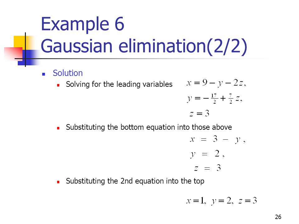 Example 6 Gaussian elimination(2/2)