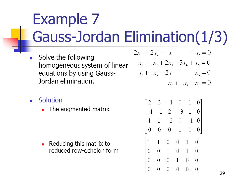 Example 7 Gauss-Jordan Elimination(1/3)