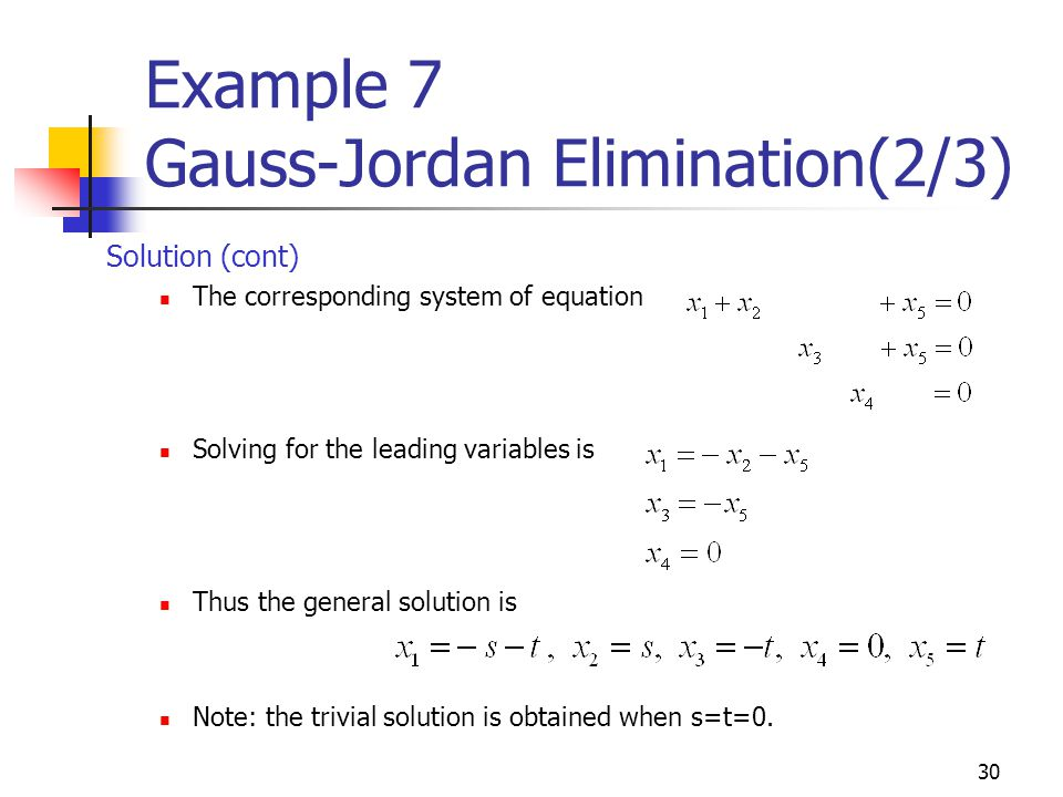 Example 7 Gauss-Jordan Elimination(2/3)
