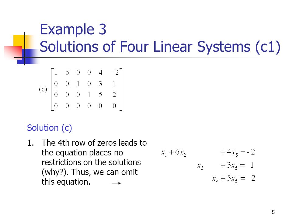 Example 3 Solutions of Four Linear Systems (c1)