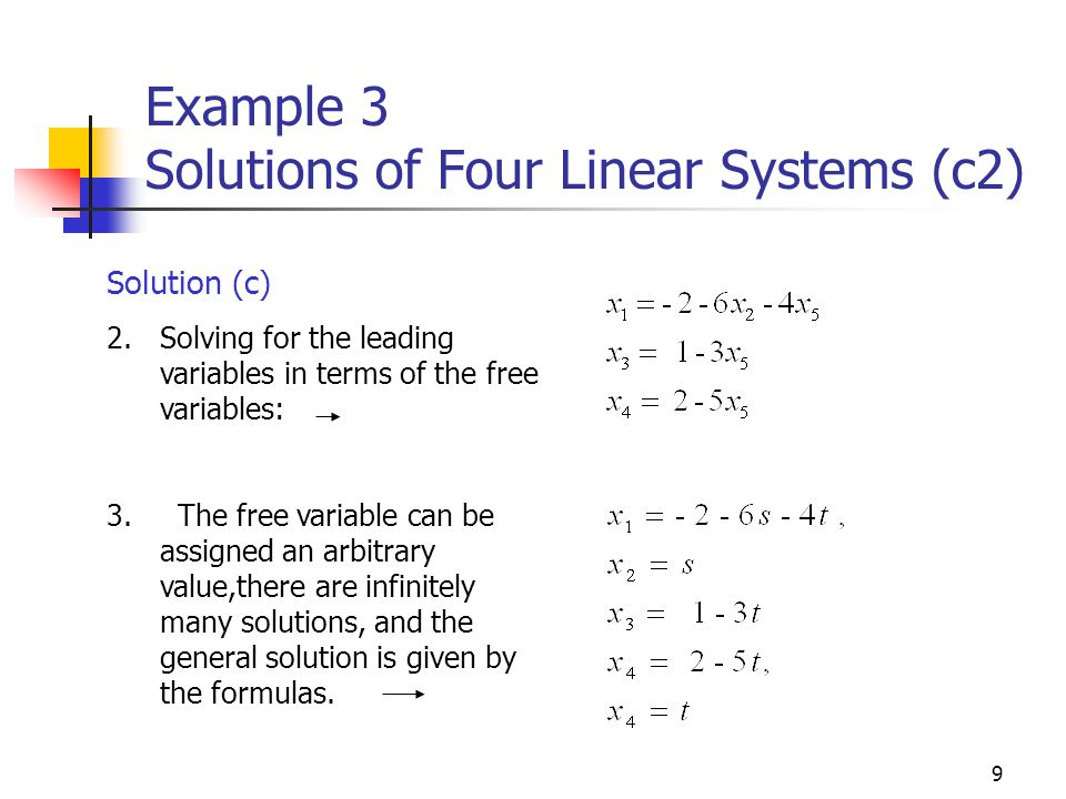 Example 3 Solutions of Four Linear Systems (c2)