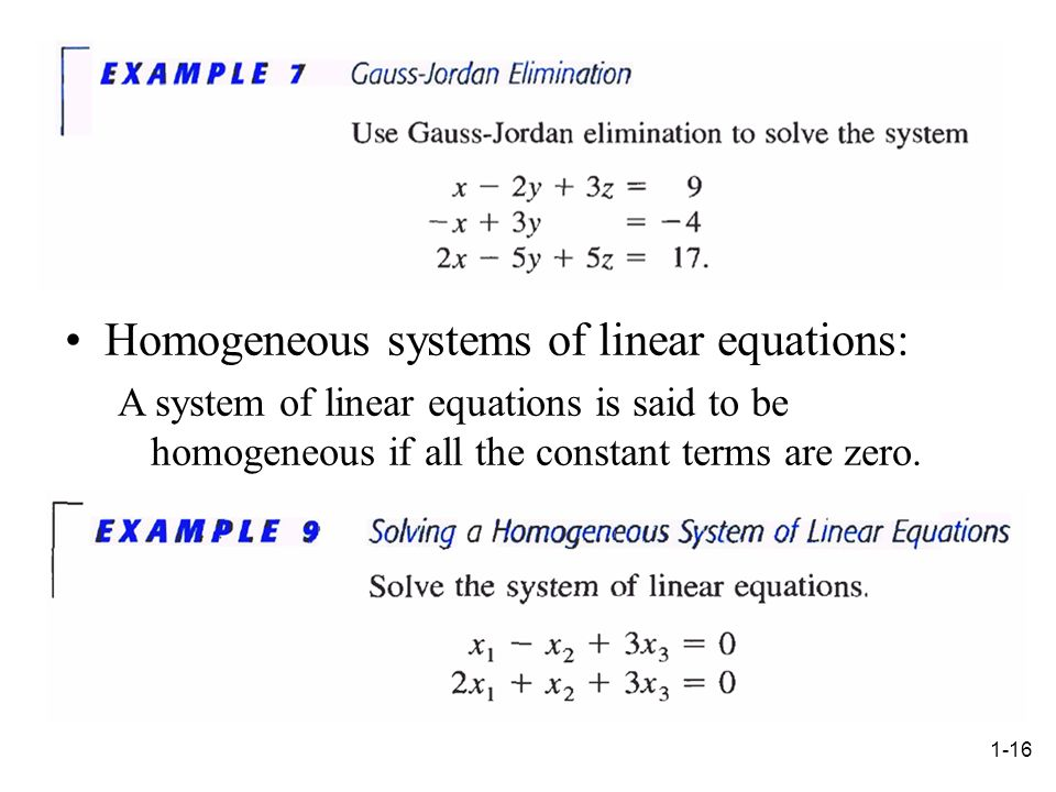 Homogeneous systems of linear equations: