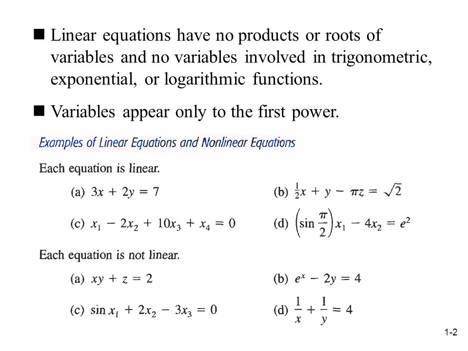Linear equations have no products or roots of