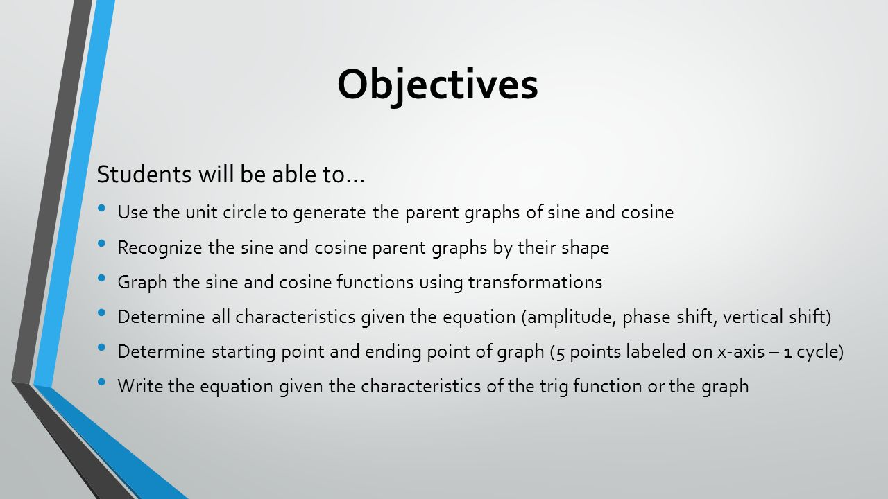 Worksheets Graphing Sine And Cosine Worksheet graphing sine and cosine ppt download 2 objectives