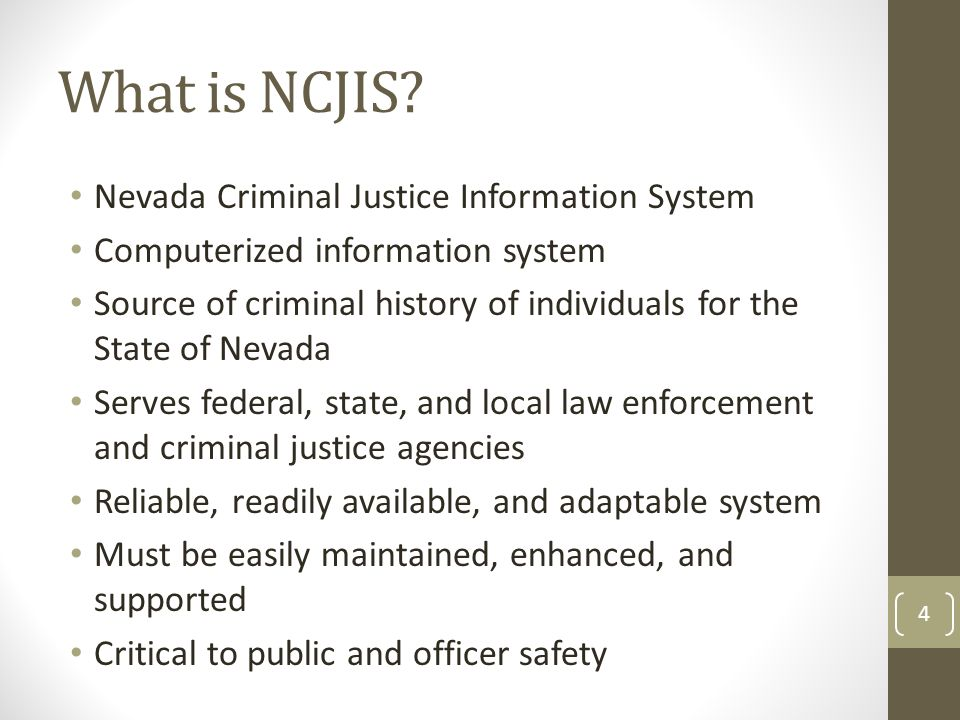 What is NCJIS Nevada Criminal Justice Information System