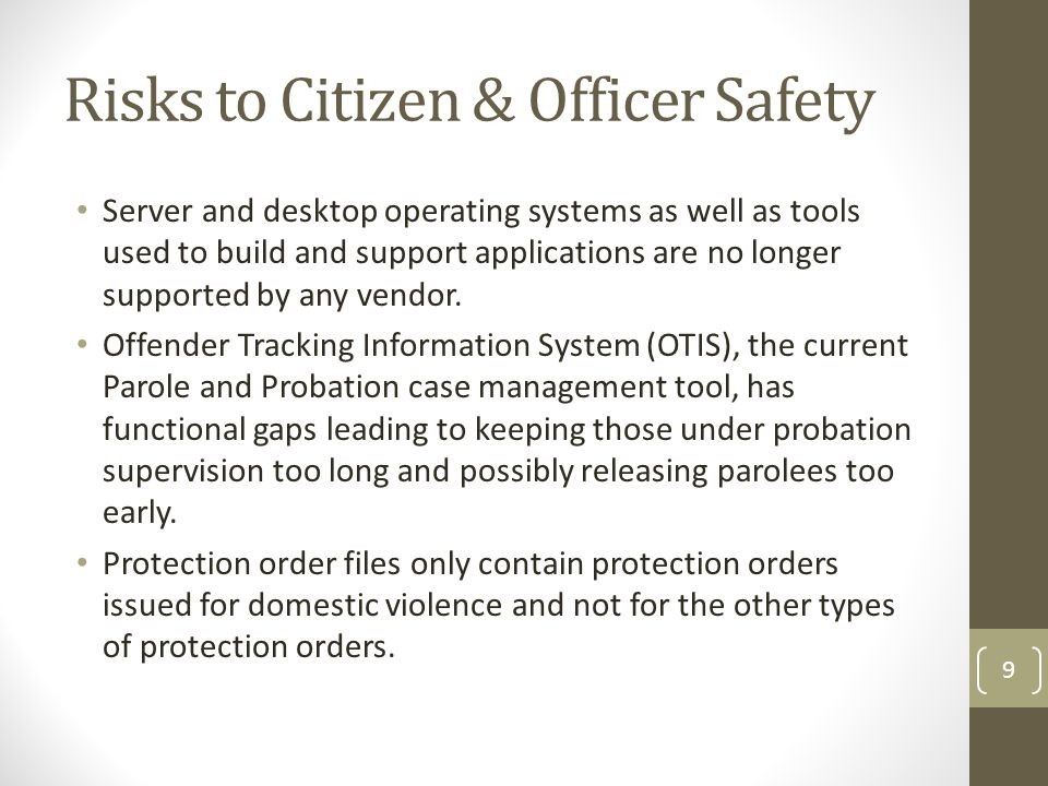 Risks to Citizen & Officer Safety