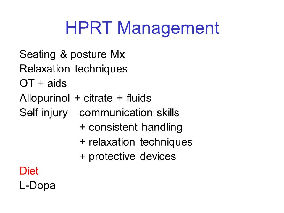 HPRT Management Seating & posture Mx Relaxation techniques OT + aids